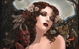 Обои деревья, Девушка, перья, черепа, демоны
