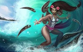 Обои League of Legends, LoL, девушка, вода, брызги, Irelia, арт