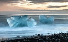 Картинка закат, лёд, море