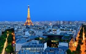 Обои сумерки, вечер, Париж, огни