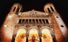 Картинка Огни, Ночь, Здание, Монастырь, Старинный