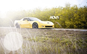 Обои дорога, небо, трава, желтый, Corvette, Chevrolet, шевроле
