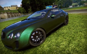 Обои машина, газон, трек, Bentley Continental GT, need for speed shift 2