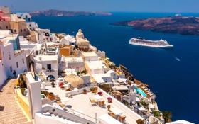 Картинка море, корабль, дома, Санторини, Греция, склон, лайнер