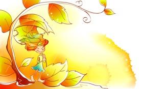 Картинка осень, листья, улыбка, дождь, вектор, девочка