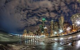 Картинка огни, океан, побережье, здания, Чикаго, ночной город, Chicago