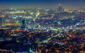 Обои ночь, огни, вид, панорама, небоскрёбы, Сеул, Южная Корея