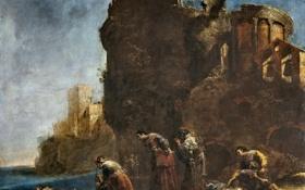 Картинка берег, картина, руины, мифология, Leonaert Bramer, Скорбь Гекубы