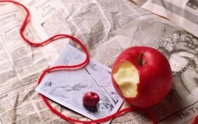 Обои письмо, яблоко, газета, ленточка