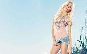 Картинка Девушка, beautiful, leggy, blonde, short-jeans, blue, певица