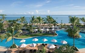 Обои отель, экзотика, бассейн, Fiji, океан, relax, отдых
