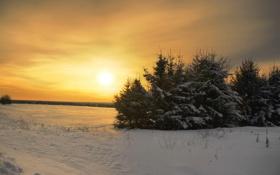Обои закат, снег, зима, небо