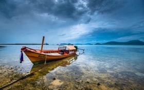 Обои пляж, небо, тучи, океан, лодка, Phuket, Thailand