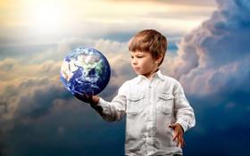 Обои облака, планета, ребенок, Земля