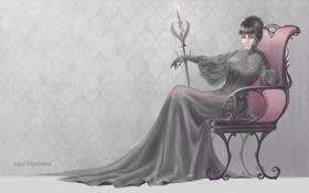 Картинка взгляд, девушка, фон, обои, узоры, волосы, кресло