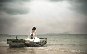 Картинка море, девушка, лодка, азиатка