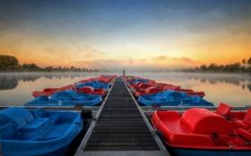 Картинка пейзаж, мост, озеро, стиль, лодки
