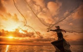 Обои озеро, сетка, лодка, рыбак, Bangpra, Fisherman of Bangpra Lake