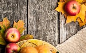 Картинка листья, стол, яблоки