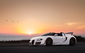 Обои Front, Sky, Supercar, White, Sunset, Bugatti, Sun