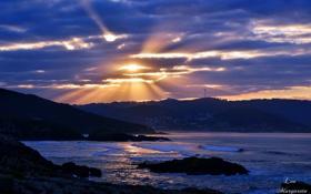 Картинка волны, закат, тучи, залив, Leo Margareto