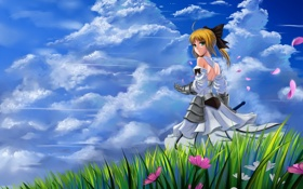 Картинка небо, трава, обои, аниме, блондинка, девочка, fate stay night