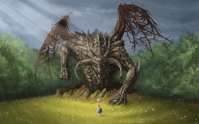 Картинка лес, взгляд, фантастика, дракон, ромашки, крылья, арт