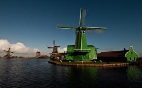Обои небо, облака, река, канал, ветряная мельница