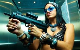 Обои девушка, оружие, фон