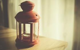Обои красный, лампа, стекло, фонарь, свечка