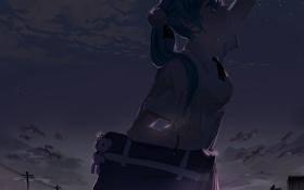Картинка небо, девушка, звезды, облака, ночь, аниме, слезы