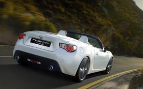 Картинка дорога, Concept, белый, кабриолет, FT-86, Toyota, вид сзади