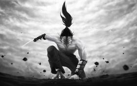 Картинка оружие, фантастика, птица, волосы, лапы, клюв, лезвие