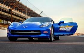 Обои Corvette, Chevrolet, дверь, передок, корвет, Stingray, Pace Car