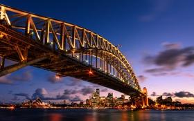 Обои New South Wales, Harbour Bridge, ночь, мост, Австралия, Sydney, огни