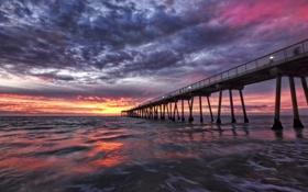Картинка море, небо, облака, закат, пирс, США, California