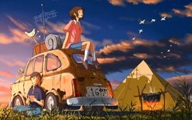 Обои машина, небо, девушка, птицы, костер, палатка, парень