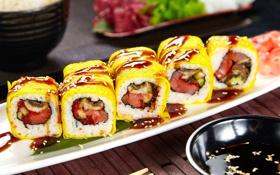 Обои суши, кунжут, роллы, начинка, японская кухня, соевый соус, нори