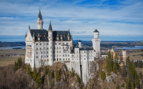 Обои замок, Neuschwanstein, Бавария, Германия, castle, Нойшванштайн
