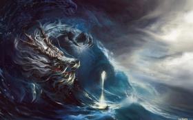 Обои море, волны, шторм, магия, лодка, дракон, арт