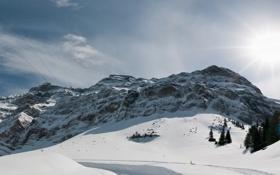 Картинка Alps, Schwagalp Pass, Switzerland, горы, горный перевал, снег, Альпы
