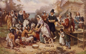 Обои картина, живопись, painting, 1621, The first Thanksgiving, J.L.G. Ferris