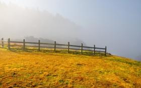 Картинка пейзаж, туман, забор, гора