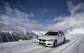 Обои Зима, Белый, Снег, BMW, Капот, Автомобиль, Передок