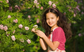 Обои цветы, природа, улыбка, брюнетка, девочка