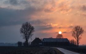 Картинка дорога, поле, пейзаж, закат, дом