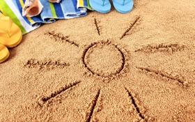 Обои песок, пляж, лето, отдых, полотенце, очки, summer