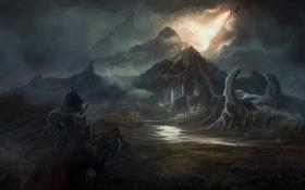 Картинка пейзаж, горы, город, дождь, огонь, дракон, человек