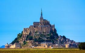 Обои небо, замок, Франция, Нормандия, Мон-Сен-Мишель
