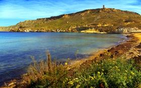 Обои Мальта, Malta, скалы, небо, Gnejna Bay, башня, море